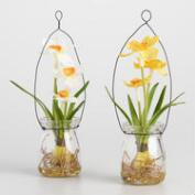 Hanging Mini Faux Daffodil Jars Set of 2