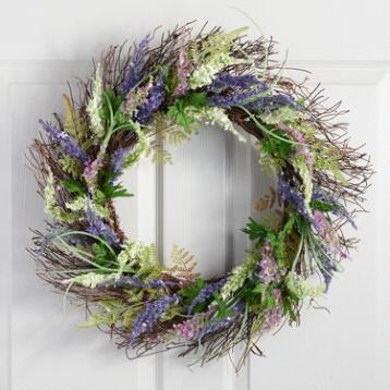 Purple Faux Floral Wreath