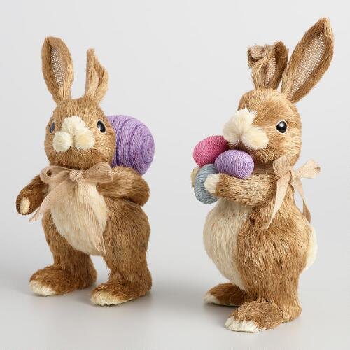 Brown Natural Fiber Bunnies with Eggs Set of 2