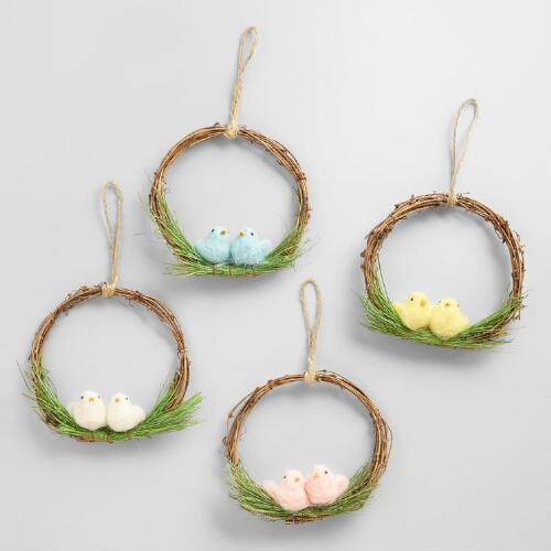 Mini Wreaths with Felt Birds Set   of 4