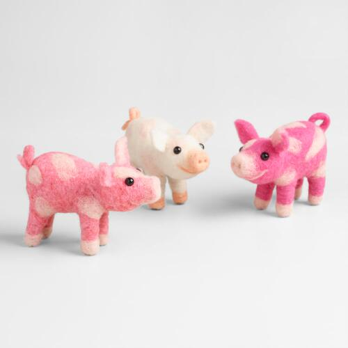 Felted Wool Pigs  Set of 3