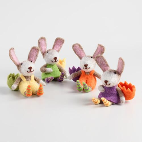 Felted Wool Bunnies with Egg Cups Set of 4