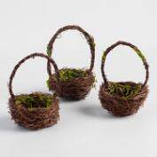 Mossy Twig Mini Baskets Set of 3