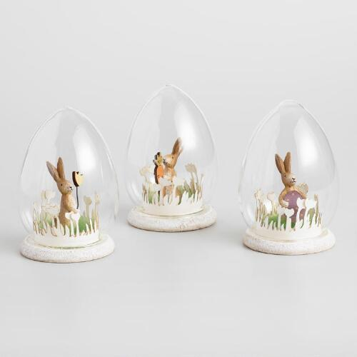 Glass Cloches with Bunny Scenes Set of 3