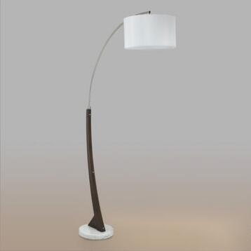 White Marble and Steel Hayes Arc Floor Lamp and Shade Set