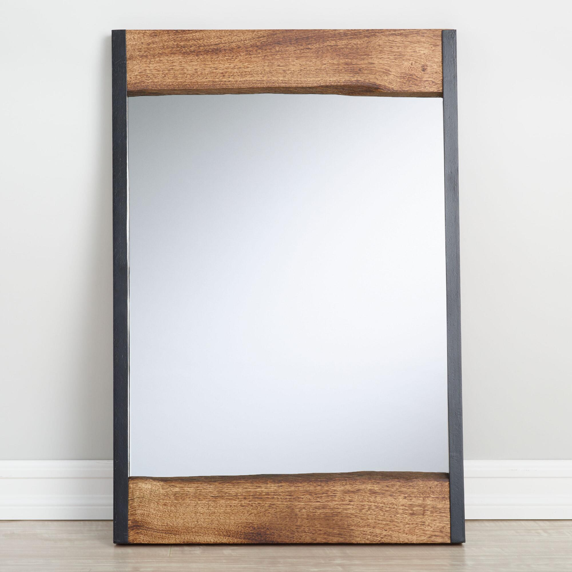 Small walnut brown wood leaner mirror with live edge for Small wall mirrors