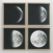Moon Phases by Gail Peck with Gold Frames Set of 4