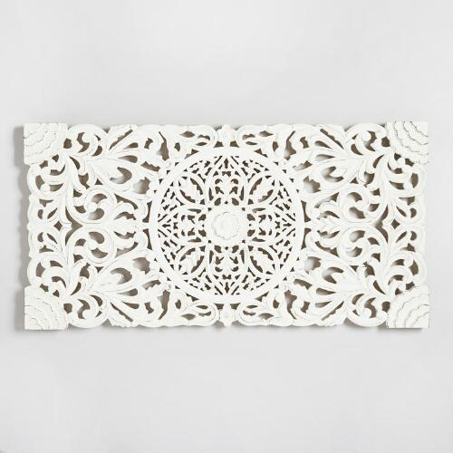 Ivory Wood Floral Wall Panel World Market
