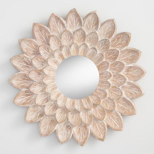 Carved floral mirrored wall decor world market for Wall decor with mirrors