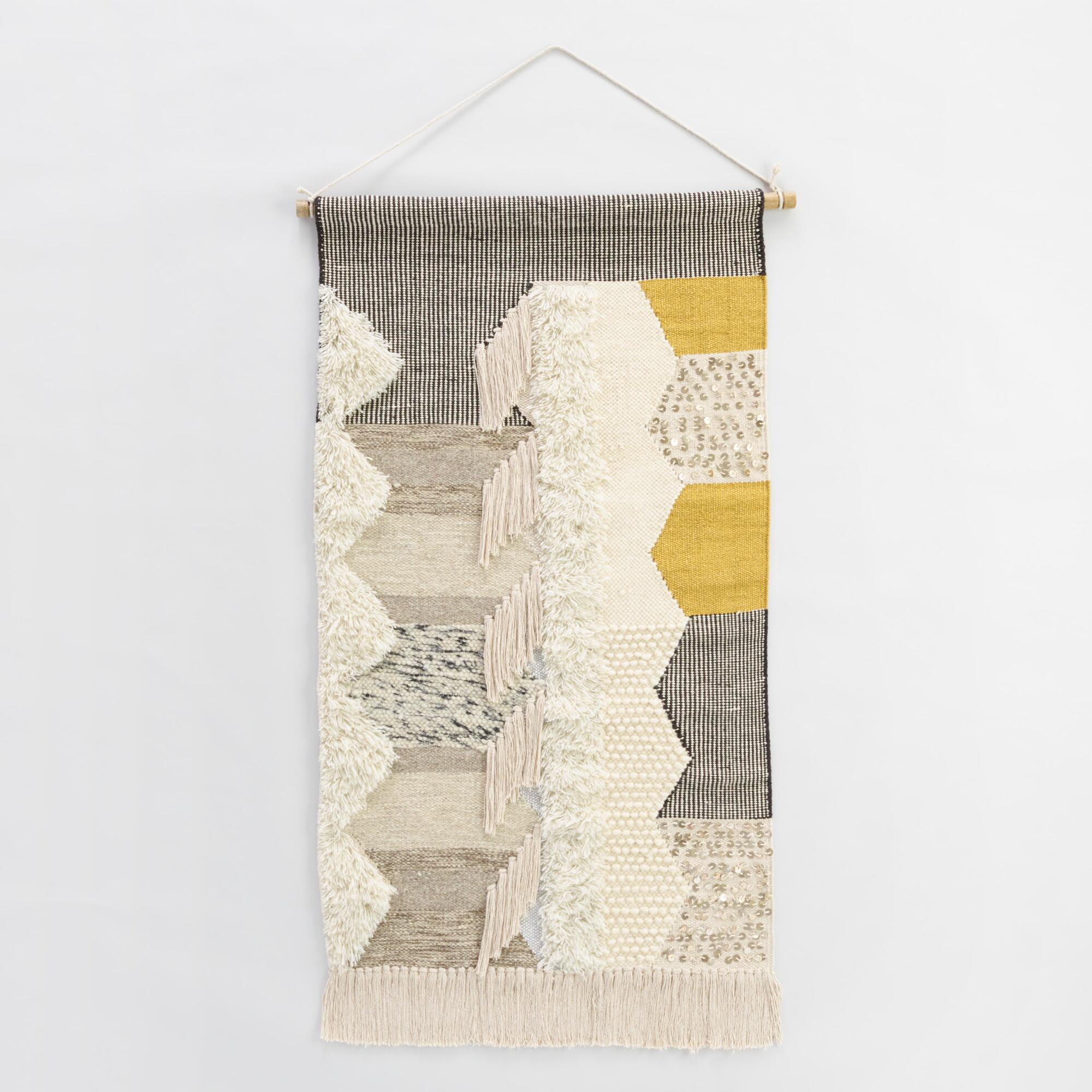 Gray and white woven wall hanging world market for What to hang on walls
