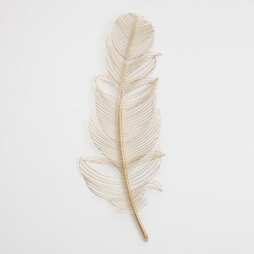 Gold Wire Feather Wall Decor