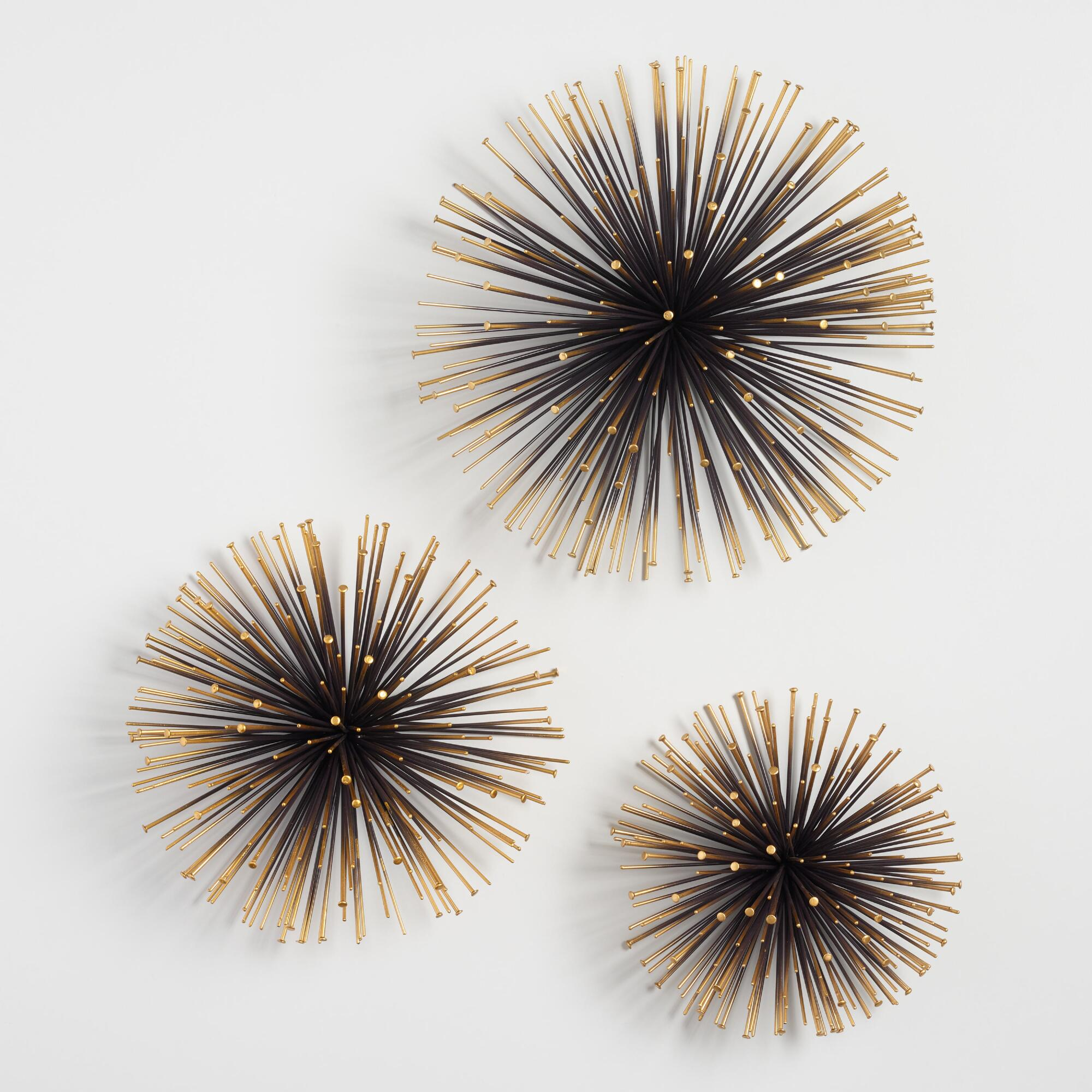 Gold sea urchin wall decor set of 3 world market for Gold wall art