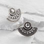 Silver Fan Stud Earrings