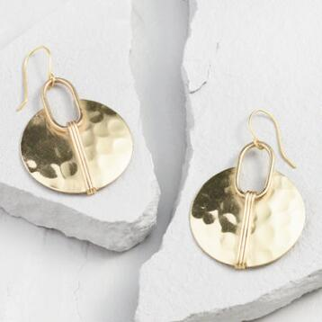 Gold Hammered Circle Drop Earrings
