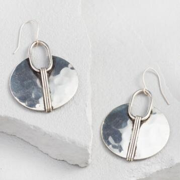 Silver Hammered Circle Drop Earrings