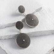 Silver Dot Statement Drop Earrings