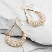 Gold and Gray Bead Teardrop Earrings