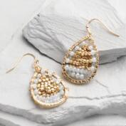 Gray and Gold Bead Teardrop Earrings