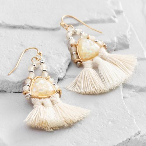 Ivory Tassel Beaded Drop Earrings