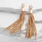 Gold Seed Bead Tassel Earrings