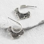 Ornate Silver Hoop Earrings