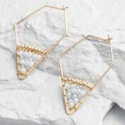 Gray and Gold Diamond Hoop Earrings