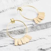 Gold Fan Hoop Earrings