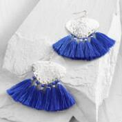 Silver and Blue Tassel Earrings