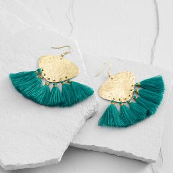 Gold and Teal Tassel Earrings