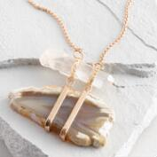 Crystal and Agate Gold Pendant Necklace