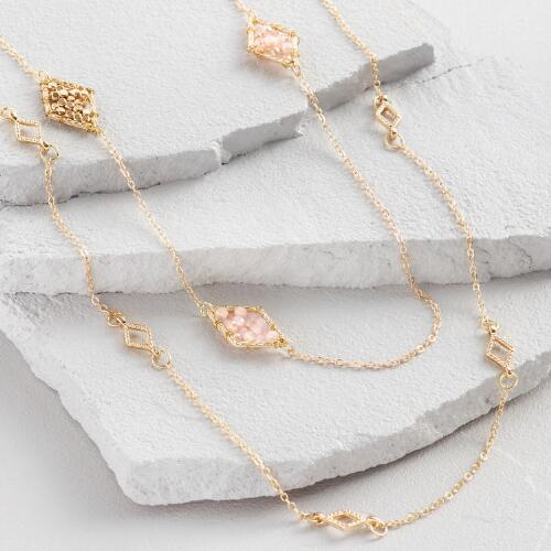 Gold and Champagne Beaded Station Necklace