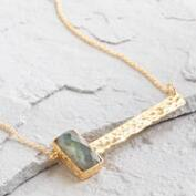Labradorite Gold Bar Pendant Necklace