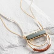 Agate and Wrapped Leather Pendant Necklace