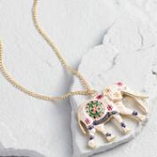 White Elephant Pendant Necklace
