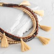 Brown Bead and Tassel Multi Strand Necklace