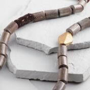 Fabric and Wood Bead Necklace