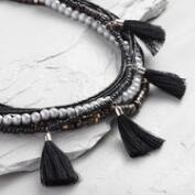 Black Bead and Tassel Multi Strand Necklace