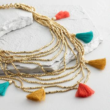 Gold Bead and Tassel Multi Strand Necklace