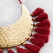 Gold and Red Tassel Collar Necklace