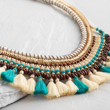 Ivory and Turquoise Tassel Statement Necklace