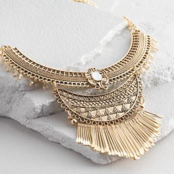 Gold Spoke Statement Necklace