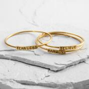 Gold Believe Harmony Fearless Bracelets Set of 3