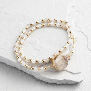 Gray and Gold Beaded Druzy Bracelet
