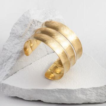 Gold Hammered Layer Cuff Bracelet