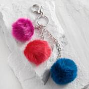 Red Triple Pom Keychain