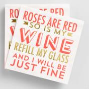 Red Rose  Beverage Napkins 20 Count