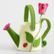 Cream Watering Can Felt Easter Basket