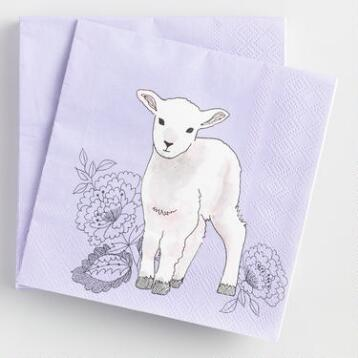 Easter Lamb Beverage Napkins Set of 2