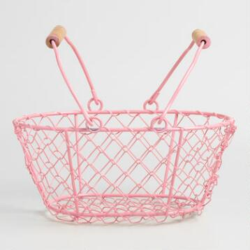 Pink Mini Wire Baskets Set of 2