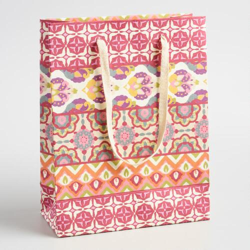 Large Jaipur Striped Handmade Paper Gift Bags Set of 2